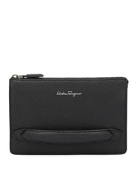 Salvatore Ferragamo Firenze Leather Pouch With Handle Black
