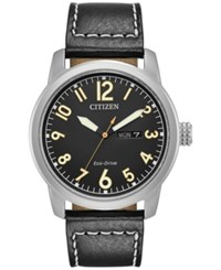 Citizen Men's Eco Drive Military Black Leather Strap Watch 42Mm Bm8471 01E No Color
