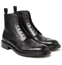 O'keeffe Felix Polished Leather Wingtip Brogue Boots Black