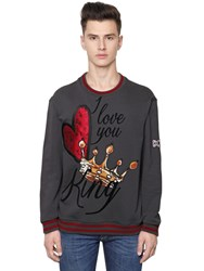 Dolce And Gabbana Heart Crown Patches Cotton Sweatshirt