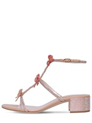 Rene Caovilla 40Mm Satin And Crystal Sandals Pink