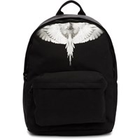 Marcelo Burlon County Of Milan Black And Silver Wings Backpack
