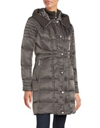 Vince Camuto Hooded Mid Length Puffer Coat Iron