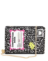 Betsey Johnson Composition Notebook Shoulder Bag Black