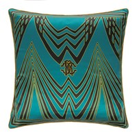Roberto Cavalli Deco Silk Cushion Teal Green