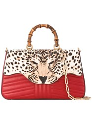 Gucci Leopard Print Tote Women Calf Leather Calf Hair One Size Red