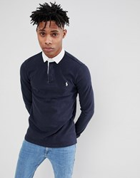 Polo Ralph Lauren Long Sleeve Rugby Contrast Collar In Navy White Aviator Navy