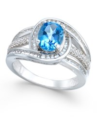 Macy's Blue Topaz 1 1 2 Ct. T.W. And Diamond 1 2 Ct. T.W. Ring In 14K White Gold