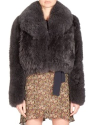 Sonia Rykiel Alpaca Fur Cropped Jacket Grey