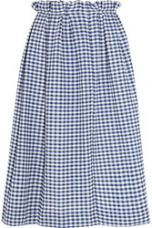 Mother Of Pearl Grace Gingham Cotton Midi Skirt Blue