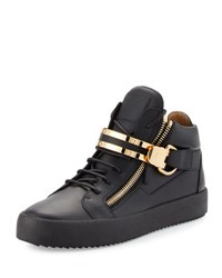 Giuseppe Zanotti Men's Leather Mid Top Sneaker W Double Bar Strap Black