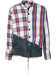 Greg Lauren Denim Checked Shirt Blue