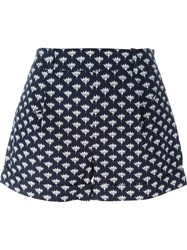 Diane Von Furstenberg Peace Palm Wide Leg Short Shorts Blue