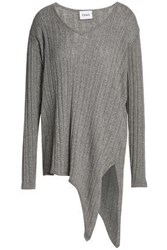 Charli Macy Asymmetric Ribbed Knit Sweater Taupe