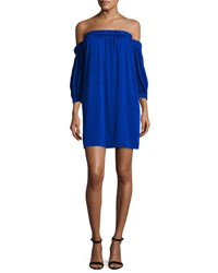 Milly Off The Shoulder Stretch Silk Shift Dress Cobalt