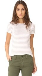 Three Dots Kennedy Short Sleeve Crew Tee Oatmeal White