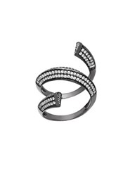 Lord And Taylor Cubic Zirconia 2 Tiered Coil Ring Black