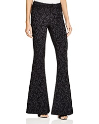 Alice Olivia Brocade Bell Bottom Pants Black