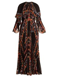 Etro Makalu Geometric Print Pleated Chiffon Gown Black Print