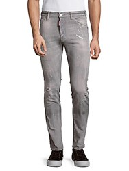 Dsquared Distressed And Splatter Paint Print Jeans Grey
