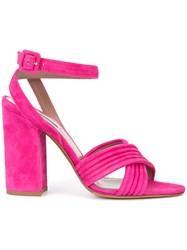 Tabitha Simmons Nora Cross Strap Sandals Pink Purple