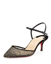 Christian Louboutin Glittered Mesh 55Mm Red Sole Pump Black