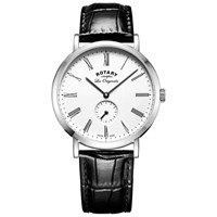 Rotary Gs90190 01 Men's Les Originales Leather Strap Watch Black White