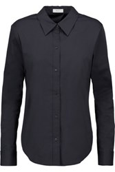 A.L.C. Meg Cutout Twist Back Cotton Blend Shirt Midnight Blue