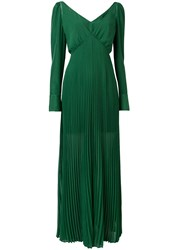 Self Portrait Pleated Dress Green