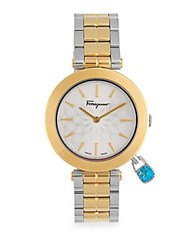 Salvatore Ferragamo Intreccio Round Bracelet Analog Watch Gold