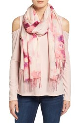Nordstrom Women's Impressionist Garden Wool And Cashmere Scarf Pink Combo