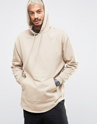Asos Oversized Super Longline Hoodie With Stepped Hem Blonde Beige