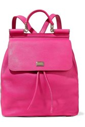 Dolce And Gabbana Sicily Textured Leather Backpack Fuchsia
