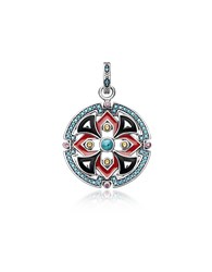 Thomas Sabo Necklaces Black And Red Enamelled Sterling Silver Round Pendant W Synthetic Turquoise And Red Corundum