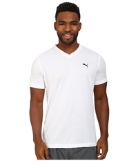 Puma Essential S S V Neck White Black Men's Short Sleeve Pullover