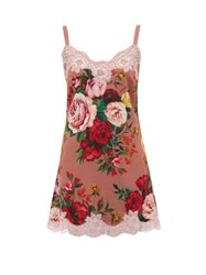 Dolce And Gabbana Floral Print Silk Crepe Nightdress Pink Print