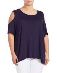 Lord And Taylor Plus Knit Cold Shoulder Top Evening Blue