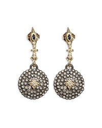 Armenta 18K Yellow Gold And Blackened Sterling Silver Old World Sapphire And Diamond Shield Earrings White Multi