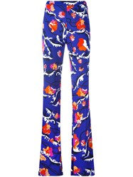 Emilio Pucci Printed Flared Trousers Blue
