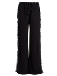 Figue Simone Straight Leg Fringed Crepe Trousers Navy