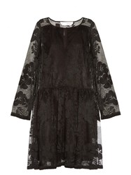 See By Chloe Floral Mesh Long Sleeved Dress Black
