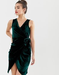 Parisian Tie Side Velvet Dress Green