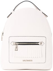 Love Moschino Logo Plaque Backpack White
