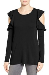 Pleione Women's Ruffle Cold Shoulder Top