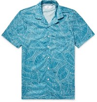 Onia Camp Collar Printed Voile Shirt Teal