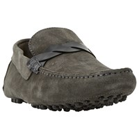Bertie Bazel Contrast Saddle Trim Suede Driving Loafers Grey