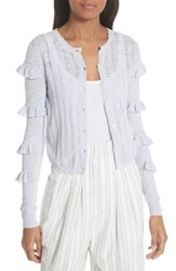 Rebecca Taylor Tiered Ruffle Sleeve Cotton Blend Cardigan Sky
