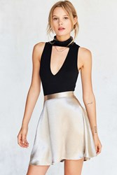 Silence And Noise Satin Shine Mini Skater Skirt Beige