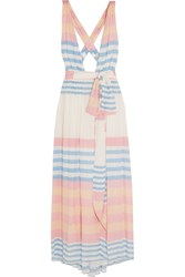 Mara Hoffman Striped Crinkled Voile Maxi Dress Pastel Pink Blue