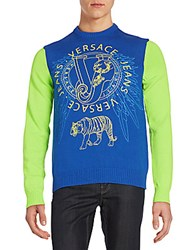 Versace Graphic Knit Sweater Blue